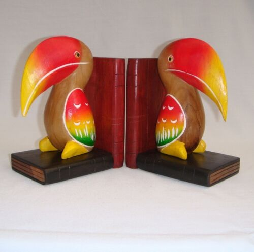 Wooden Colourful Toucan Pair Bookends handcarved from Acacia wood in Thailand