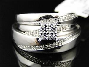 Image Is Loading 10K Mens Ladies White Gold Diamond Engagement Bridal
