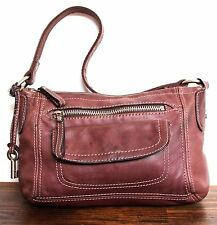 VINTAGE FOSSIL DARK BROWN GENUINE LEATHER SILVER KEY SHOULDER BAG PURSE HANDBAG