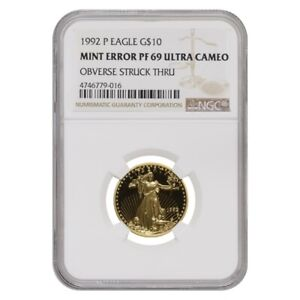 1992-P-1-4-oz-10-Proof-Gold-American-Eagle-NGC-PF-69-UCAM-Mint-Error-Obv