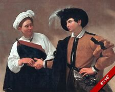 YOUNG ITALIAN LOVERS GOOD LUCK CARAVAGGIO PAINTING ART REAL CANVASPRINT