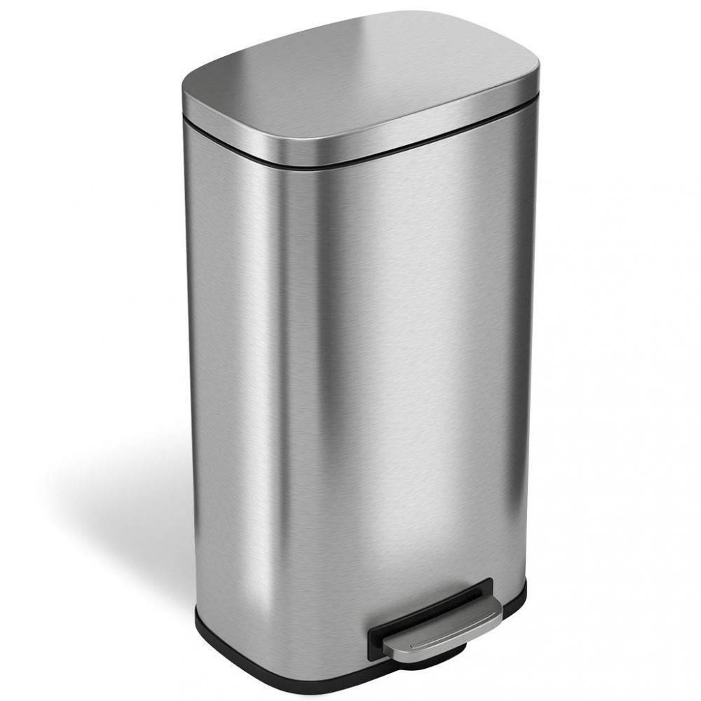 ITouchless SoftStep 8 Gallon Stainless Steel Step Trash Can, 30 Liter Pedal...