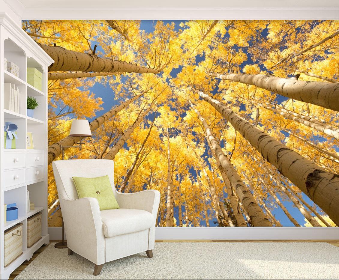 3D Golden Forest 7080 Wallpaper Mural Wall Print Wall Wallpaper Murals US Lemon
