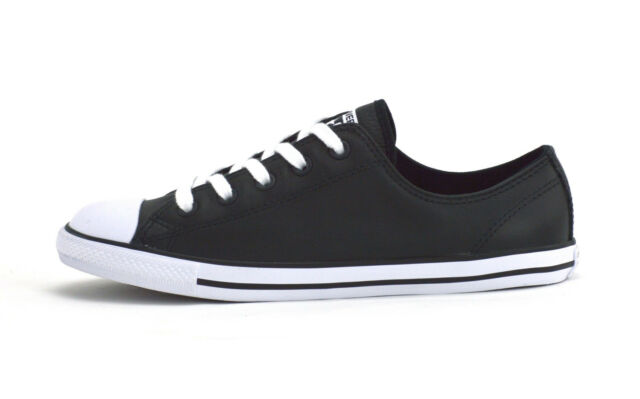 038d9a9dca7b Converse Chuck Taylor All Star Dainty Black Leather Trainers 7 UK   41 EU  for sale online
