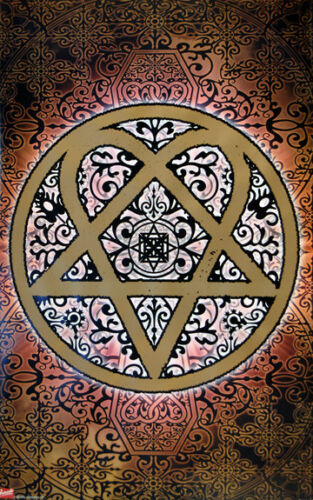 HIM Heartagram Tattoo Design Art 24x36 Poster Print Gothic Rock Love Metal Music