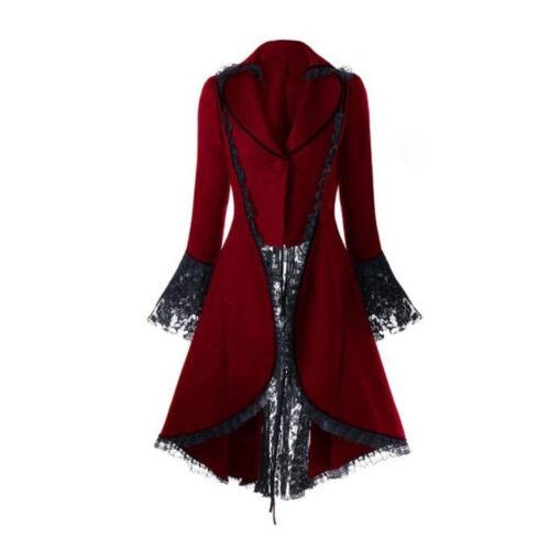 Women Vintage Long Sleeved Waist Back Bandage Lace Rereo Coat Jacket OverCoat US
