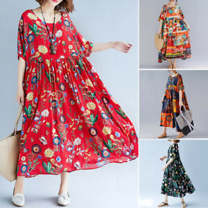 ZANZEA-Women-Floral-Short-Sleeve-Beach-Dress-Ladies-Loose-Kaftan-Party-Dresses