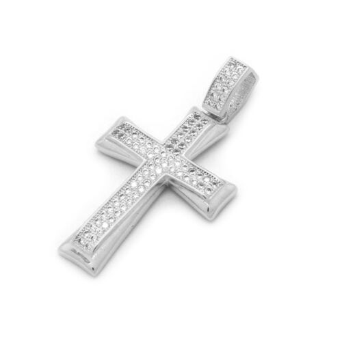 """Mens White Gold Plated Fully Cz 2Line Shade Cross Pendant 24/"""" Cuban Chain"""