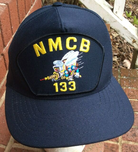 132e0fec3f3ab US Navy USMC NMCB 133 SEABEES Blue Embroidered Baseball Snap Back Cap NEW  USA