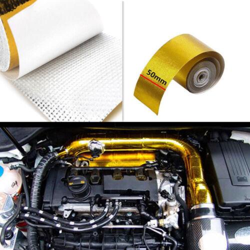 "2/""x16/' Gold Reflective High Temperature Heat Shield Intake Hood Engine Wrap"