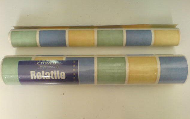 Crown Rolatile Blown Cushion Vinyl Roll Blue/Green/Yellow Tile Collect AL2 Herts