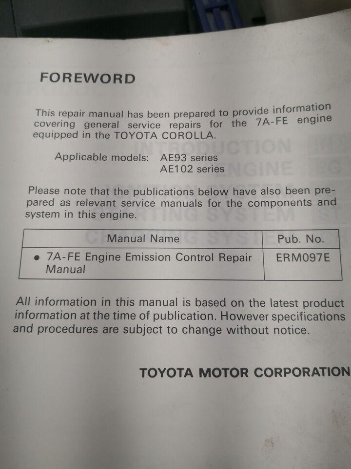 Toyota corolla motorbog 7A-FE