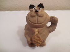 """Old PIC USA Stoneware Pottery Smiling Cheshire Cat Figurine ~ 2 1/8"""" Tall"""