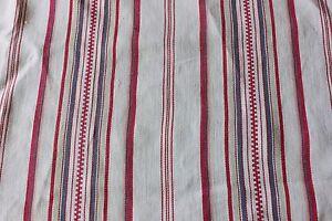 French-Farmhouse-Antique-Mattress-Ticking-Fabric-Yardage-c1900Heavy-Cotton-Linen