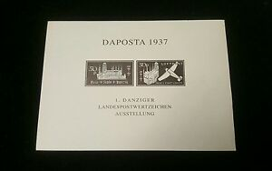 Danzig-1937-034-Daposta-034-Souvenir-Sheet-Imperforate-Proof-in-Black-Extremely-Rare