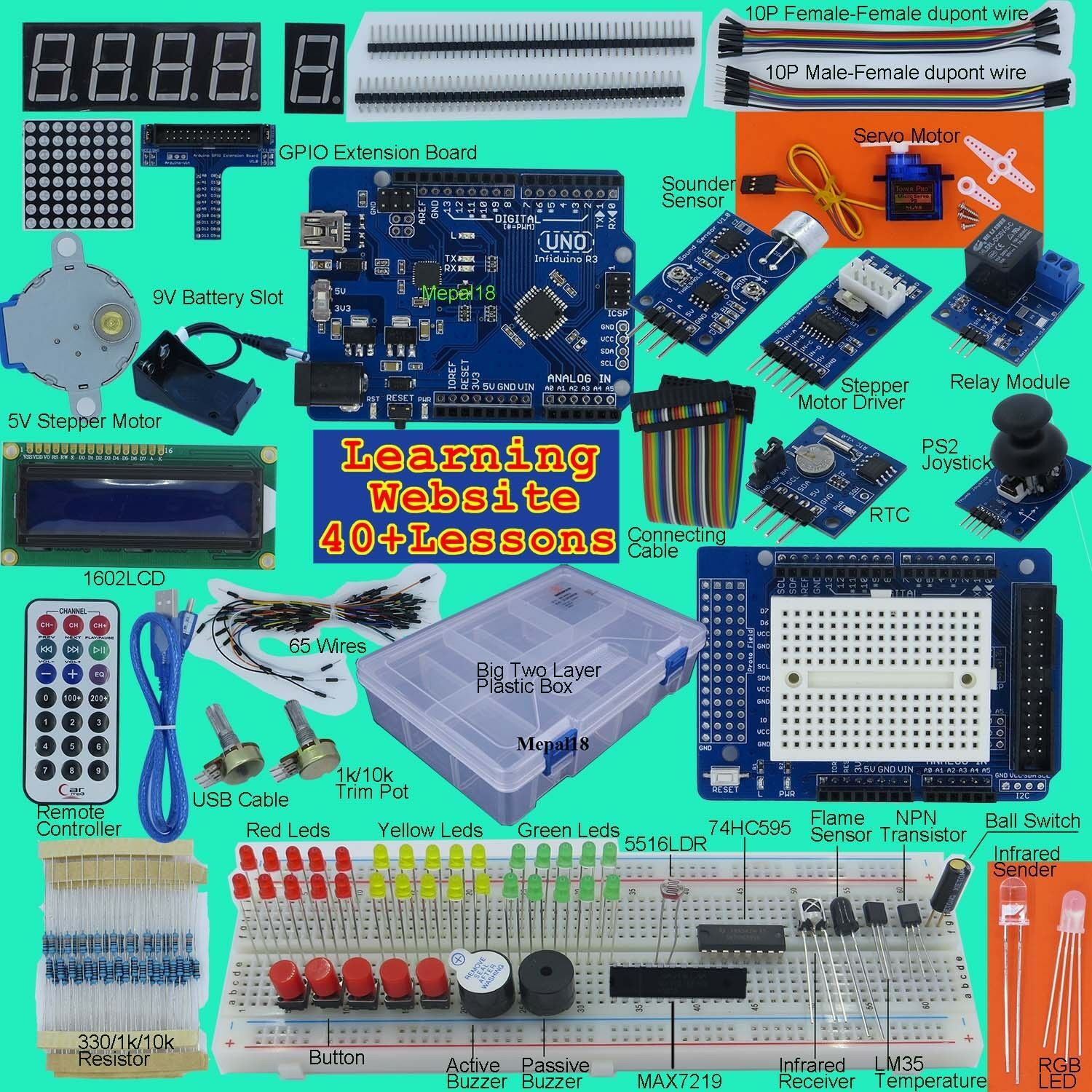 New Ultimate UNO R3 Starter Kit for Arduino/Infiduino LCD(Big Two ...