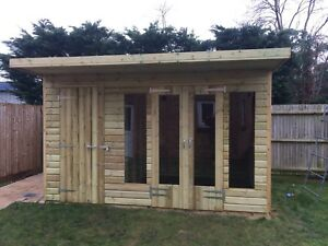 12x8 Wooden Garden Summerhouse Groove Roofshed 19mm Tanalised