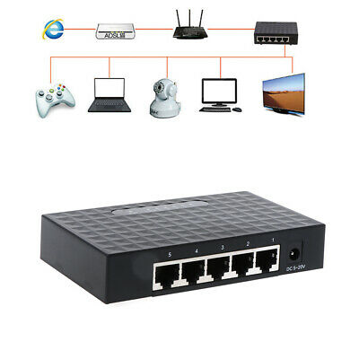 5-Port Gigabit LAN Ethernet Network Switch HUB Desktop Adapter 10//100//1000Mbps