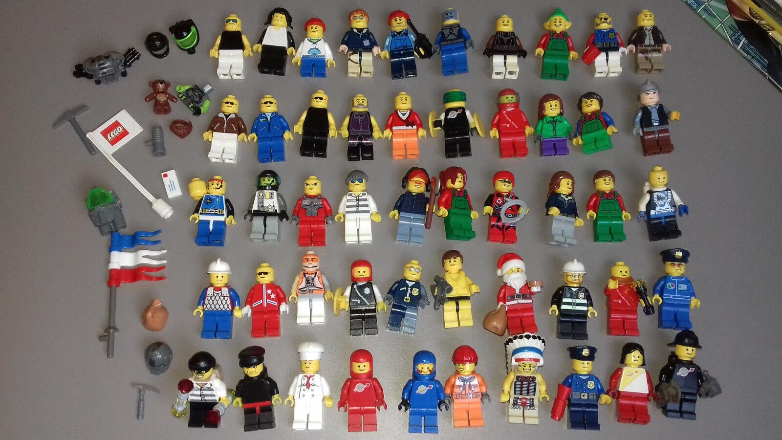 LEGO CITY  - lot de 50 minifig originales - 100 % LEGO - no fake
