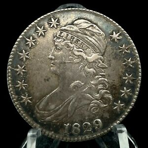 1829 Capped Bust Half Dollar Lettered Edge Scarce Date Silver US Coin #5