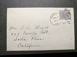 HAYWA-to-SANTA-ROSA-CALIF-1919-Postal-History-Cover-537-CAL-CA