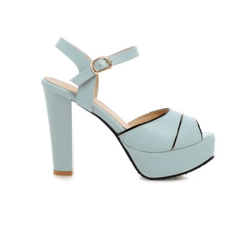 Womens Fashion Open Toe Thick Heel Platforms Roma Style Shoes High Heel Sandals