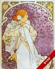 MUCHA FRENCH WOMAN PURPLE & W BLUE STARS PAINTING ART REAL CANVAS GICLEEPRINT
