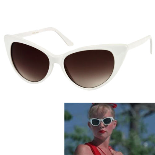 Womens White Cat Eye Sunglasses Vintage Retro 50/'s Wendy Peffercorn Movie star
