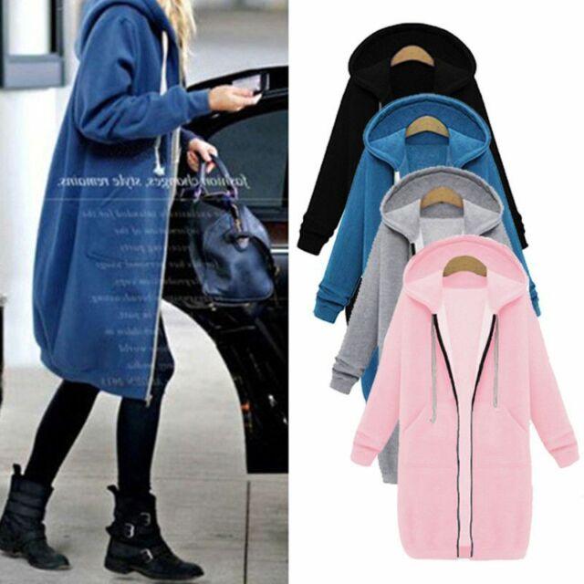Women Long Sleeve Zip Up Hooded Hoodie Long Jacket Jumper Cardigan Coat Plus Top