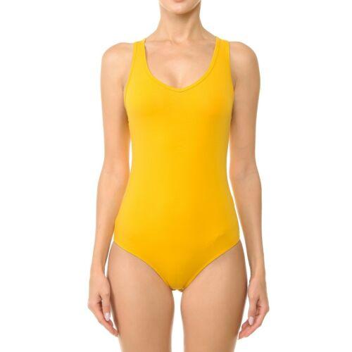 Women/'s Basic Solid V Neck Bodysuit Stretch Leotard Plus Size 1XL-3XL