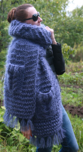 5 strands Premium Mohair EXTRA LONG SCARF with pockets handknit Blue Men Women