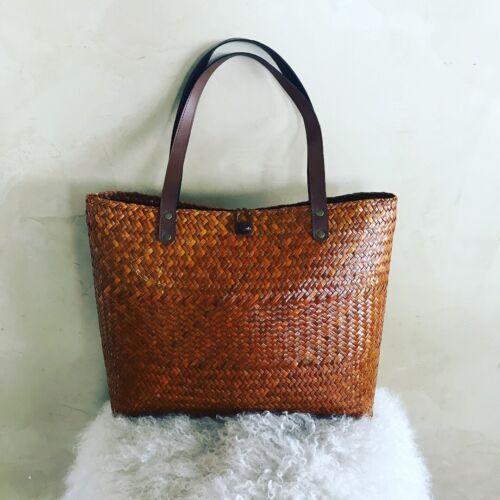 Medium Faser Vintage Sommer Bhmische Zarte Reed Bucket Bag Boho Gre 1Oxzqq