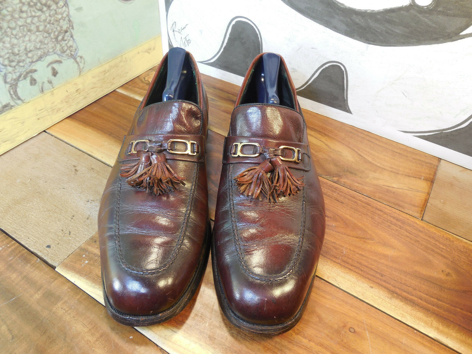 Vintage Florsheim Imperial Burgundy Leather 10.5D Tassel Loafers Men's 10.5D Leather d9057b