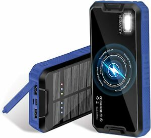 20000mAh Wireless Solar Power Bank Portable External Battery for iPhone Android