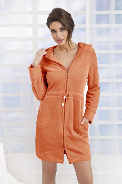 ad1d48e2d5 Women s Cotton Dress Style Bath Robe Housecoat Dressing Gown Zip up ...
