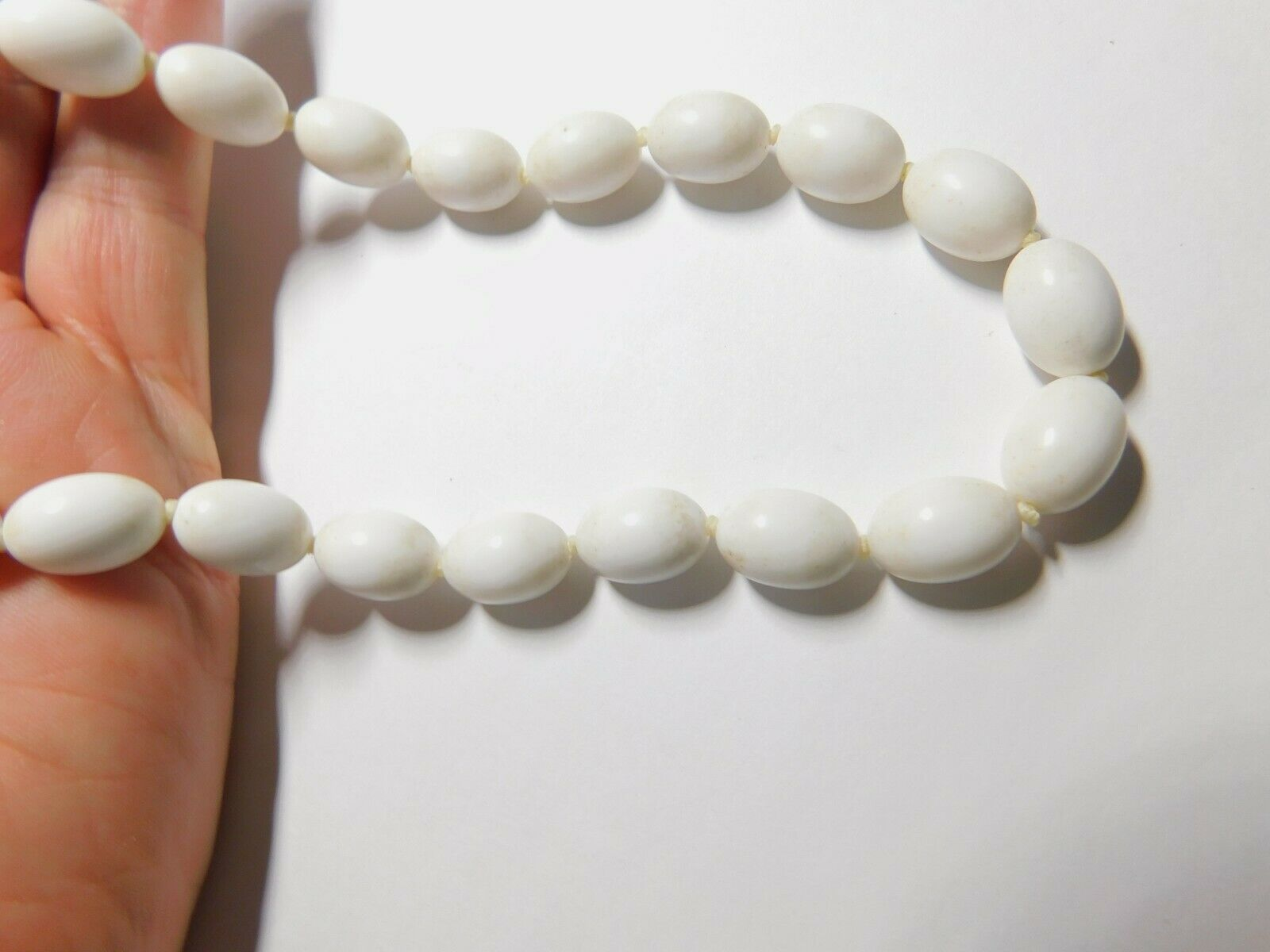 White Lucite Oval Beaded Necklace Vintage Plastic Beads Hand Knotted Vintage Necklace Gold Tone Metal Clasp