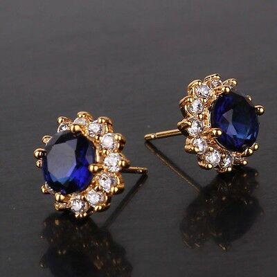 Lovely design sapphire 24k yellow gold filled luxury stud earring