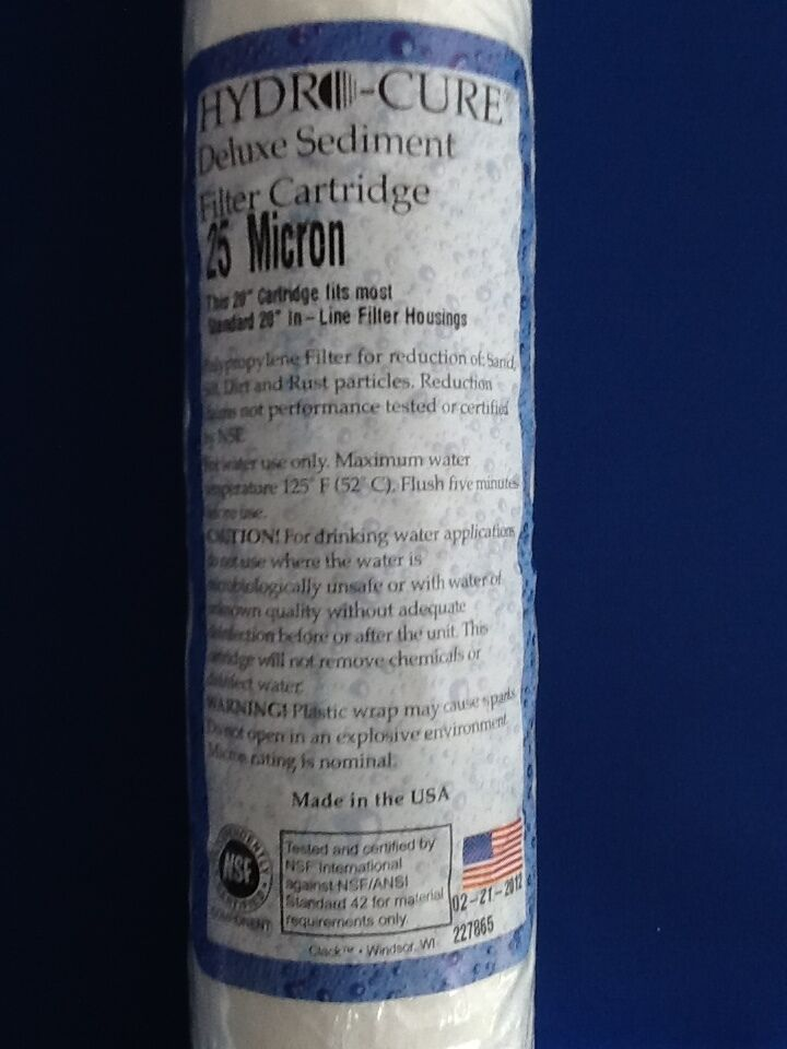 HYDRO CURE DELUXE 25 MICRON 20 x2.5  SEDIMENT FILTER - CASE OF 25
