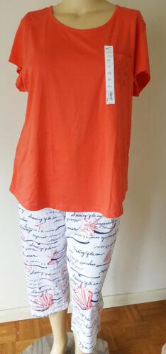 Womens 100/% Cotton PJS Pajamas Croft /& Barrow S//S Capri Length Size//Color Choice