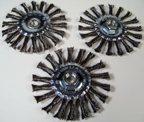 """3pc 4-1//2 /"""" Spiral Twisted Knotted Wire Wheel With 5//8/"""" x 11TPI Arbor HUB Carbon"""