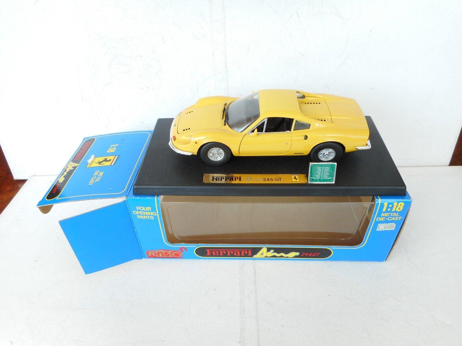 FERRARI DINO DINO DINO 246 GT 1 18 In Yellow  EXCELLENT IN Exellent Box 3bf9b8
