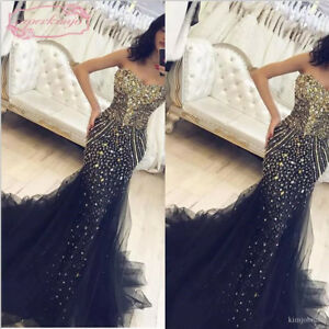 f49726887d5d9 Image is loading Luxury-Crystals-Beaded-Mermaid-Prom-Evening-Party-Dress-