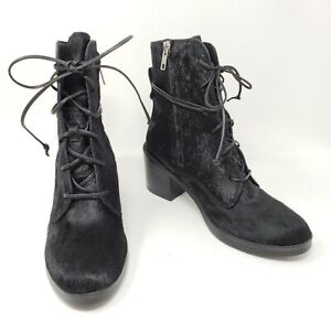 f0b8c68c51a Details about Ugg Australia Oriana Exotic Lace Up Boots Heels Black  Calfhair Womens Size 6