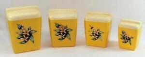 Vintage-Burroughs-Burrite-4-Piece-Yellow-Plastic-Canister-Set-Flower-Decals