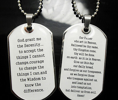 Wholesale 10 Serenity Bible Lord's Prayer Pendant Necklace Jewelry Lots Dog Tag Extremely Efficient In Preserving Heat Religious Products & Supplies Fashion Jewelry