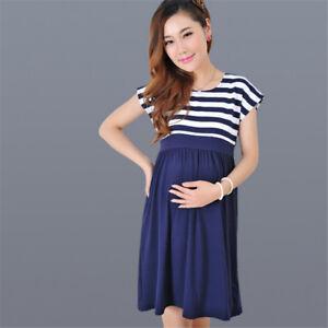 1d8b44d4d3693 Stripe Pregnant Women Dress Short Sleeve Casual Maternity Dress ...
