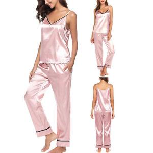 Ladies-Silk-Pajama-Long-Pants-amp-Sleeveless-Tops-Set-2-Piece-Pajamas-Sleepwear