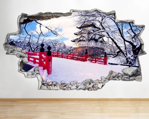 Pegatinas de Pared Japón Puente De Nieve Invierno Sky destrozada Calcomanía 3D BA133 Sala de vinilo artística