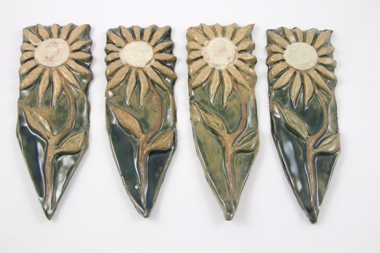 4 Ceramic Pottery Garden Decor Markers Flower Garden Window Box Plaques Stakes