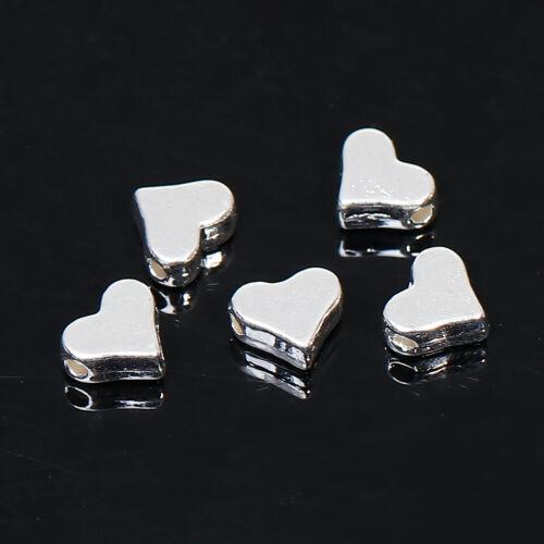 Placa de plata 40 Corazón Espaciador Granos ~ 7x6mm ~ ~ Pulseras Collares Aretes ~ 12J